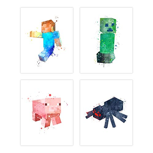 Insire Popular Mining Video Game Poster Prints | Set of Four 8x10 Craft Home Decor | Mine Wall Art Gifts