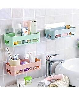 Flipco Multipurpose Kitchen Bathroom Shelf Wall Holder Storage Rack Bathroom Rack Storage Box Strong Suction Shower Rack Shelf - Random Color