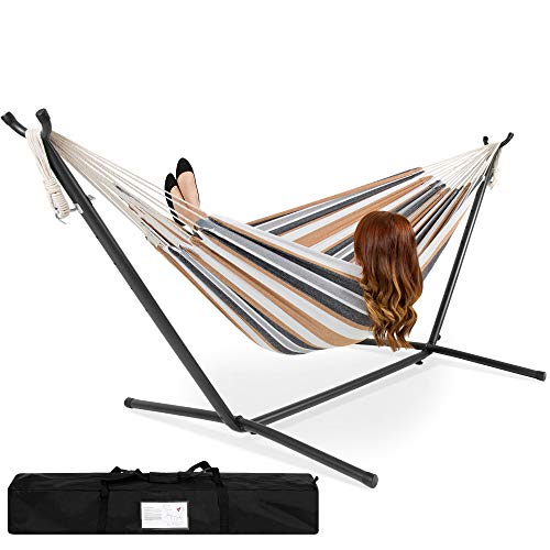 Best Choice Products Portable Indoor Outdoor 2-Person Cotton Double Hammock Set w/ Steel Stand and...