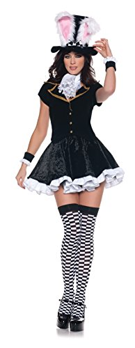 Women's Sexy Mad Hatter Costume - Totally Mad, Black/White, Large (Sexy Mad Hatter Costumes)