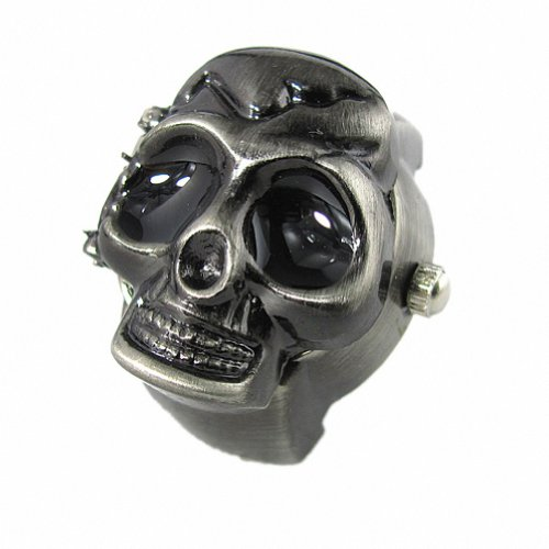 Youyoupifa Cool Design Skull Case Flip Quartz Ring Watch (Black)