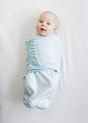 Large Product Image of Swaddle Blanket with Adjustable Wrap, Set of 2, Tiny Elephants and Stripes, Pastel Blue, Small