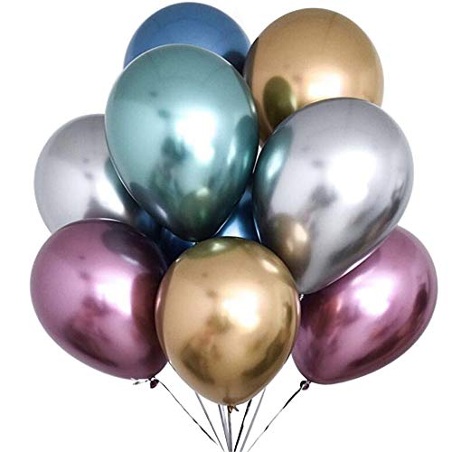 LANGXUN 12 inch 6 Colors Metallic Latex Balloons - 50Pcs Gold Balloons for Birthday Party Decorations and Wedding Decorations -