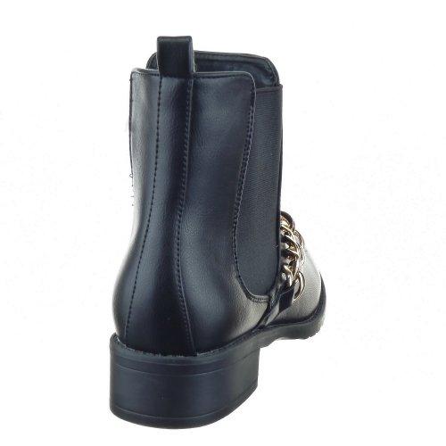 Sopily - Zapatillas de Moda Botines Low Boots Altas A medio muslo mujer Cadena Talón Tacón ancho 3.5 CM - Negro
