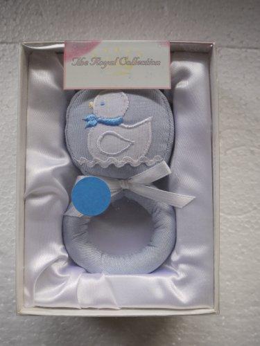 Stephan Enterprises Blue Taffeta Moire Baby Rattle With Embroidered Duck