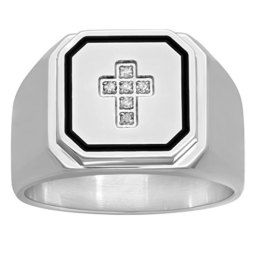 STEEL NATION JEWELRY Men's Stainless Steel Diamond Accent Cross and Bold Black Border Fashion ()