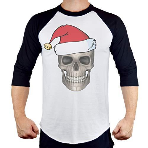 Men's Christmas Skull B1468 PLY Raglan Baseball T-Shirt Medium White ()