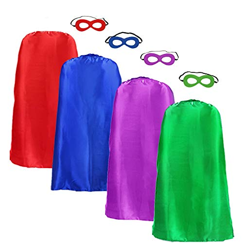 Adults Superhero Cape Cloak for Men & Women with Mask Dress up Party Costumes (4 Color Set) ()