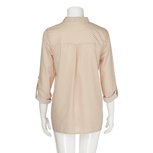 V Col Top Beige Femme Chemisier Solid Dcontract Courtes Manches DAYLIN naAZRIxqa