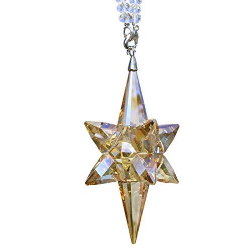 Qf Crystal Star Hanging Ornament, Glass Pendant, Collectible Suncatcher, Champange