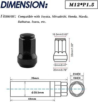 Ruien Universal Iron Steel 20pcs M12/×1.5 Racing Wheel Lug Nut Bolts Length 33mm Black