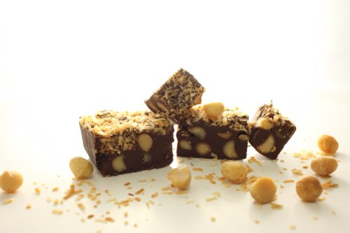 (Oh Fudge - Chocolate Toasted Coconut Macadamia Fudge 1/2 Pound - The Oh Fudge Co. secret fudge recipe - rich, pure, creamy, and delicious chocolate toasted coconut macadamia fudge - compared to Mo's Fudge Factor)