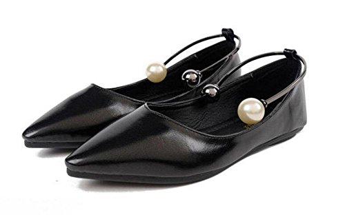 GLTER Mujeres Cerrado-Toe Bombas Corte Zapatos Ankle Strap Bombas Verano Nuevos zapatos planos Señal Boca Raso zapatos Prueba pie Anillo Perla Zapatos Zapatos de fiesta Zapatos de plataforma black