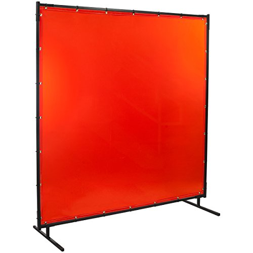 (Steiner 538-6X6 Protect-O-Screen Classic Welding Screen with Flame Retardant 14 Mil Tinted Transparent Vinyl Curtain, Orange, 6' x 6')