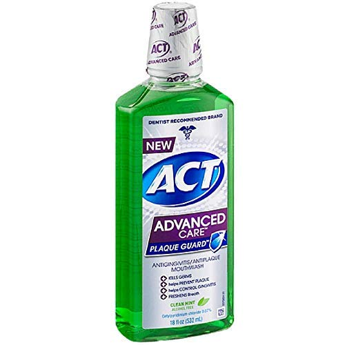 ACT Advanced Care Plaque Guard Mouthwash, Clean Mint 18 oz ( Pack of 2)