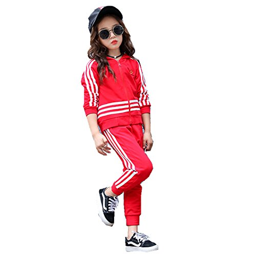 FTSUCQ Kids Zip Front Striped Sports Tracksuits Sweatsuits Jacket + Pants,Red - One All Voucher For Check Balance