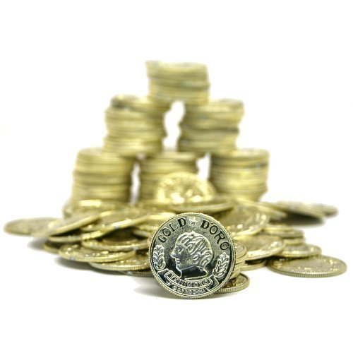 Gold Metallic Look Plastic Toy Coins (2-Pack of 144)
