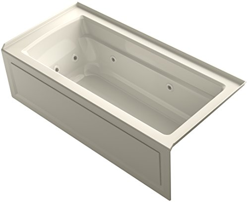 KOHLER K-1949-HRA-47 Archer Exocyclic 66-Inch x 32-Inch Alcove Whirlpool Bath with Integral Apron, Tile Flange, Heater and Right-Hand Drain, Almond ()