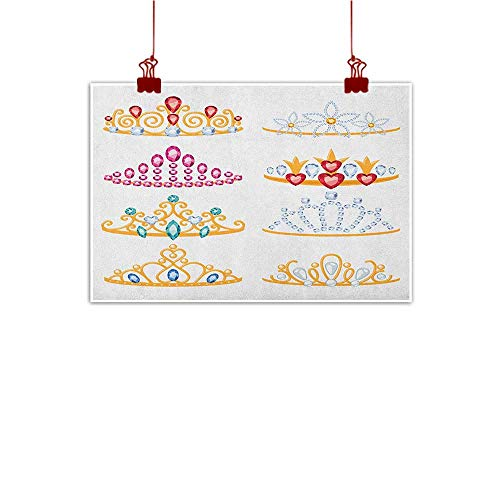 (Wall Painting Prints Teen Girls,Golden Tiaras with Vivid Digital Gemstone Figures Collection Cartoon Print, Yellow Red Pink 48