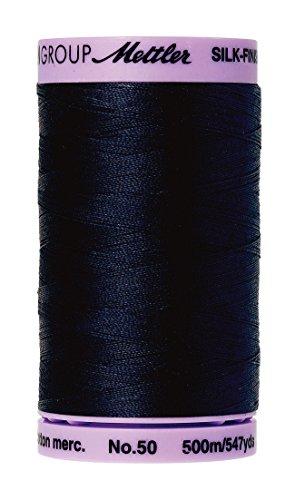 Mettler Silk-Finish Solid Cotton Thread, 547 yd/500m, Dark Blue (Thread Cotton Acrylic)