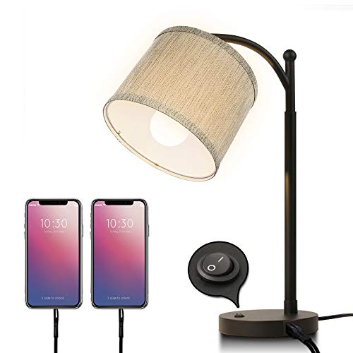Miceshu Table Lamps for Living Room, Bedside Table Lamp with Dual USB Port Modern Design Bedroom Nightstand Reading Desk…