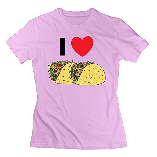 Erjran 1I Love Tacos Women's Comfortable Short Sleeve T Shirt Color Pink Size (Toys R Us Albany Ny)