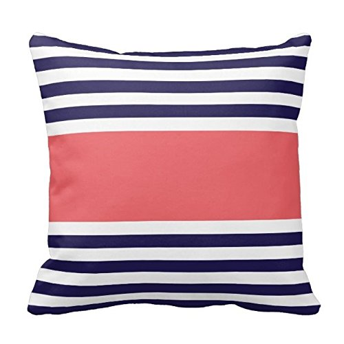 Coral Pink and Navy Blue Stripes Pattern Design Throw Pillow Cover Case Home Decorative Square 20X20 Inch Two Sides (Navy And Pink Throw Pillows)