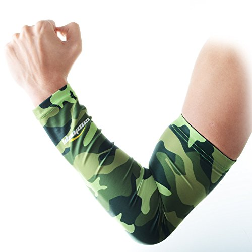 COOLOMG 1PCS Child Kids Boys Girls Youth Anti-slip Arm Sleeves Cover Skin UV Protection Sports Stretch Basketball Running Cycle Adult Camouflage Green XL