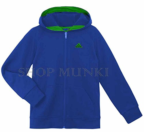 Adidas Boys Hooded Athletic Jacket, Royal/Green (L-14/16)