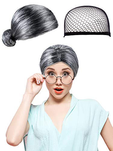 Boao Christmas Wig and Wig Cap Old Lady Wig Synthetic Halloween Hair Wig Santa Costume Wig for Cosplay Party Supplies (Adult Size, Black Gray Wig)]()