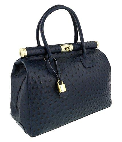 [HS Collection HS8005 SBL MINERVA Blue Satchel/Shoulder Bag] (Minerva Collection Fashion)