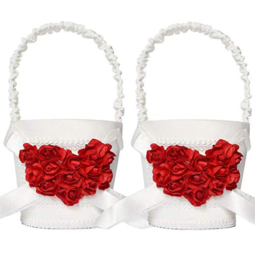 ATAILOVE 2 Pcs Flower Girl Basket Set- Elegant Royal Love Wedding Flower Baskets (Red Rose)