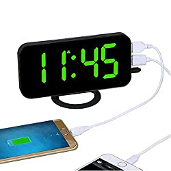 EAAGD Easy Snooze and Time Setting LED Digital Alarm Clock, Charging Station Phone Charger with Dual USB Port (Black/Green)