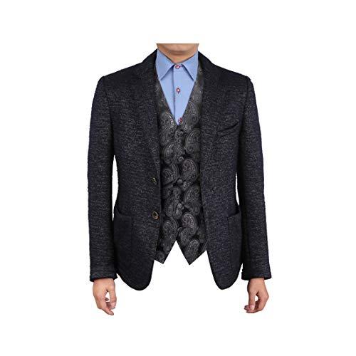 Epoint EGC2B05B-M Grey England Fashion Paisley Microfiber Black-Back Dress Tuxedo Vest Presents Idea For Halloween -