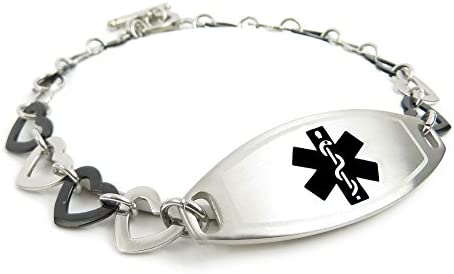 My Identity Doctor – Custom Medical Alert Bracelet with Engraving – Steel Black Hearts