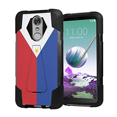 Moriko Case Compatible with LG Stylo 4 Plus, LG Stylo 4, LG Q Stylus [Hybrid Fusion Dual Layer Shockproof Combat Kickstand Case Black] for LG Stylo 4 - (Philippines Flag)