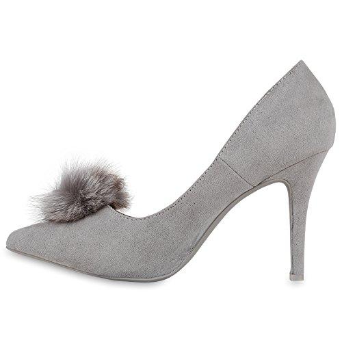 Stiefelparadies Spitze Damen Pumps Satinoptik Pailletten High Heels Schuhe Flandell Grau Bommel