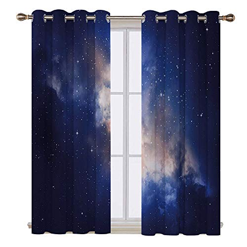 SATVSHOP Lush Decor Hotel Collection Window Curtain - 96W x 96L Inch- Galaxy Nebula Lights in Cloudy Sky Magical View Stars in The Night Sky Milky Way Navy Blue.]()