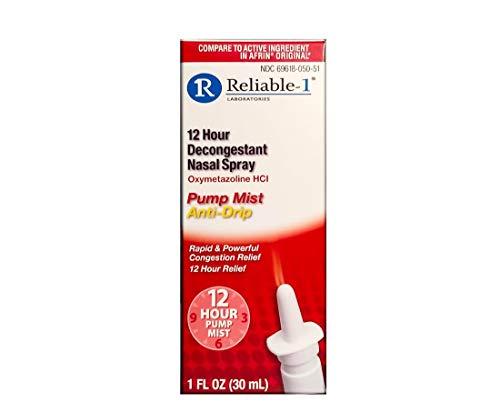 RELIABLE 1 LABORATORIES 12 Hour Decongestant Nasal Spray (1 fl oz, Single) Oxymetazoline HCI Non Drip - Rapid & Powerful Congestion Relief
