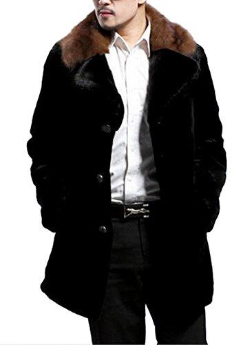 126 Cashmere (Allbebe Men's Wool Mink Long Leather Faux Fur Coat Jacket Outerwear 2XL)
