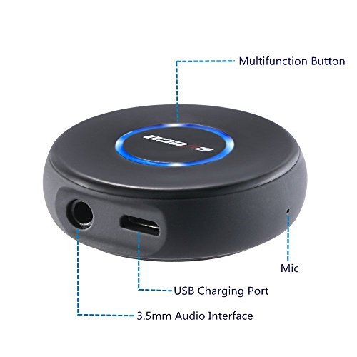 eveco Bluetooth Receiver and Car Kit Mini Wireless Audio Adapter (Bluetooth 4.1, A2DP, Handfree, 3.5mm AUX Port ) for Home and Car Audio System