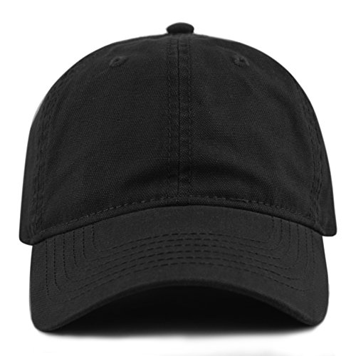 otton Canvas 6-Panel Low-Profile Adjustable Dad Baseball Cap (Black) ()
