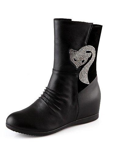 Mujer Xzz Eu35 La Moda Cuñas Redonda Zapatos Cn34 Casual us5 Tacón Cuña Black us8 Semicuero Eu39 A Black Punta Uk6 De Vestido Botas Vellón Negro Uk3 Cn39 rpSEqwp