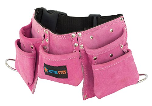 Active Kyds Leather Kids Tool Belt / Child's Tool Pouch for Costumes Dress Up Role Play (Pink) (Girl Tool Belts)
