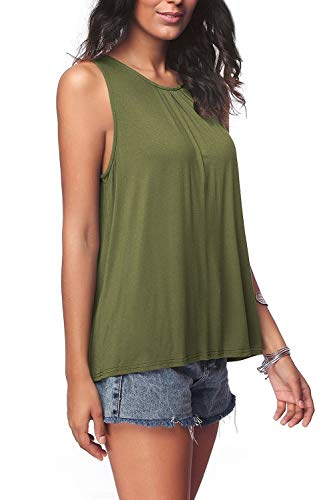 Lsisnses Womens Classic Flowy Sleeveless Tunic Casual Swing Shirt Cami Solid Tank Tops Green X-Large One Pack