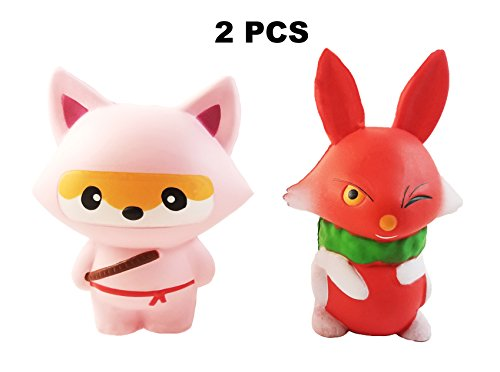Squishies Slow Rising Squishy Toys - Fox 2PC Pack - Ninja Animal Kawaii Cute Soft Scented Big Stress Relief Squishys Toy - by (Big Soft Toys)