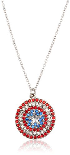 Marvel Comics Captain America Rhinestone Shield Pendant Necklace