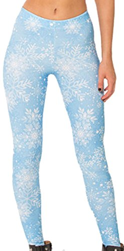 Sister Amy Women's High Waist Galaxy Printted Ankle Elastic Tights Legging Snowflake US XL