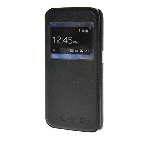 MEIRISHUN Caja del Teléfono Celular Caso Funda . Genuine Smart Ver ventana Protector Case Funda, Ultra delgado PU Cuero Folio Case Flip Cubrir para Samsung Galaxy S6 SM-G920 [Marrón] Negro