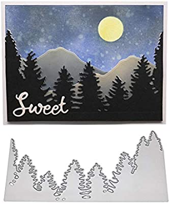 Hukai Landscape Metal Cutting Dies Stencil DIY Scrapbooking Album Stamp Paper Card Embossing Crafts Decor,Good Gift for Your Kids to Cultivate Their Hands-on Ability